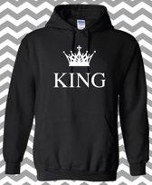 Hippe valentijn sweater | Hoodie | King & Queen | Print King | maat medium