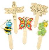 Houten tuinstokjes met insecten waarmee kinderen creatieve decoratie kunnen ontwerpen (10 stuks per verpakking)
