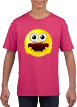 Smiley/ emoticon t-shirt geschrokken roze kinderen M (134-140)