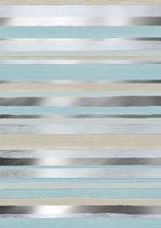 Blauw met Zand gestreept cadeaupapier Cabo Raya - Toonbankrol breedte 70cm - 150m lang
