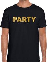 Party goud glitter tekst t-shirt zwart voor heren - heren verkleed shirts XL