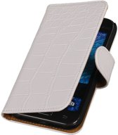Samsung galaxy j1 2015 J100F Wit   Croco bookstyle / book case/ wallet case Hoes    WN™