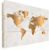 Wereldkaart Goud Marmer Vurenhout Wanddecoratie klein 40x30 cm - Wereldkaarten.nl