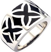 Silventi 983200142-58 Stalen ring - emaille kruis 14 mm - maat 58 - zilverkleurig / zwart
