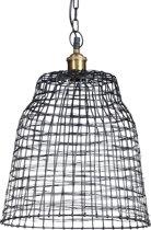 relaxdays hanglamp raster metaal zwart, kooi, plafondlamp, pendellamp industrie