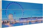London Eye bij nacht Hout 160x120 cm - Foto print op Hout (Wanddecoratie) XXL / Groot formaat!