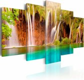 Schilderij - Prachtige Waterval, Groen/Blauw/Bruin, 5luik