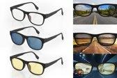 3-In-1 Zonnebril Autobril Nachtbril - UV-Beschermend Nachtzicht Nachtblind Nightview Auto Bril - Nachtblindheid Nightvision Gele Night Vision Overzet Mistbril