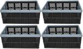 4x Zwart/blauwe inklapbare boodschappenkrat/opbergkrat 48 cm - Vouwkratten/boodschappenkratten - Krat voor boodschappen