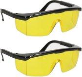 2x Vuurwerkbril met gele glazen voor nachtzicht voor volwassenen - antikras - beschermbrillen