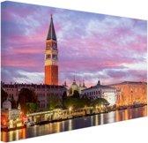 FotoCadeau.nl - Zonsondergang Venetie Canvas 60x40 cm - Foto print op Canvas schilderij (Wanddecoratie)