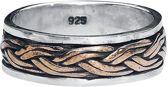 Keltische knoop 925 zilveren ring met brons maat 56