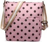 MISS LULU zeildoek canvas - Schoudertas DOTS. - LC1645D2 PK)