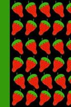 Strawberry Pattern Theme Lined Composition Notebook