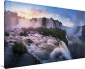 Iguaçu watervallen bij zonsopgang Canvas 80x40 cm - Foto print op Canvas schilderij (Wanddecoratie woonkamer / slaapkamer)