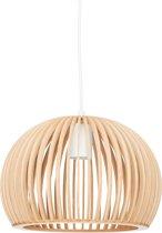 relaxdays Hanglamp bolvormige lampenkap- design plafondlamp - houten woonkamerlamp - E27