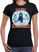 Happy Halloween heks verkleed t-shirt zwart voor dames - horror heks/vleermuizen shirt / kleding / kostuum XL