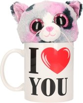 I Love You mok / beker met knuffel poes/kat gevlekt