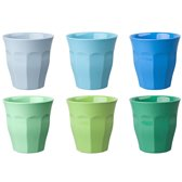 GINGER Medium Cup set - 6 melamine bekers - blauw/groen