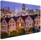 Huizen San Francisco Canvas 30x20 cm - klein - Foto print op Canvas schilderij (Wanddecoratie woonkamer / slaapkamer) / Steden Canvas Schilderijen