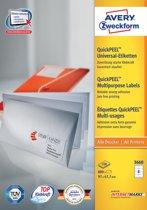 2x Avery witte etiketten QuickPeel 97x67,7mm (bxh), 800 stuks, 8 per blad, doos a 100 blad