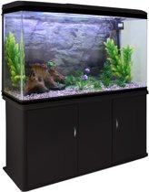Aquarium Fish Tank & Cabinet with Complete Starter Kit - Black Tank & Natural Gravel