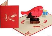 Popcards popupkaarten – Vogel, mus met cadeautje voor felicitatie verjaardag pop-up kaart