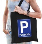 Pensioen katoenen cadeau tas zwart voor dames - Pensioen / VUT kado shirt