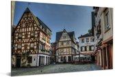 Oude huizen in het Duitse Mainz Aluminium 90x60 cm - Foto print op Aluminium (metaal wanddecoratie)
