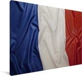 Close-up van de vlag van Frankrijk Canvas 90x60 cm - Foto print op Canvas schilderij (Wanddecoratie woonkamer / slaapkamer)