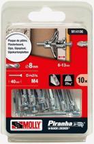 Molly Metalen Hollewand plug met schroef 8x33mm 10stuks M14106
