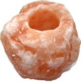 Theelichthouder Groot / Ruw - Himalayazout / Himalaya Zoutsteen (Haliet) - c.a. 1,4kg 12x9cm