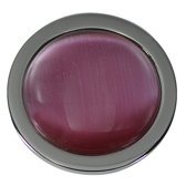 Quiges - Munthouder Munt 25mm Cat's Eye Roze Zilverkleurig - EPRS056