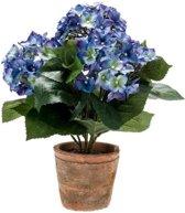 Kunstplant Hortensia blauw in terracotta pot 37 cm - Kamerplant blauwe Hortensia