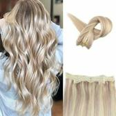 Flip In Hairextensions Halo Hair 60cm Kleur18/613 blond mix dik&vol 100%echt haar