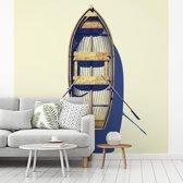 Fotobehang vinyl - Luchtfoto van roeiboot op het strand breedte 350 cm x hoogte 350 cm - Foto print op behang (in 7 formaten beschikbaar)
