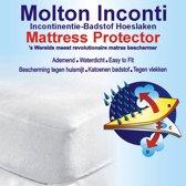 Homéé® Waterdicht molton PU hoeslaken - 90x200+30cm - 100% katoen badstof  wit - ademend - Incontinentie