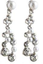 Oorhangers Crystals Pearls - Oorbellen - Earrings 2x3,5cm Wit - Musthaves