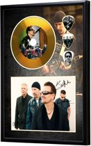 Golddiscdisplay met plectrums U2 ingelijst