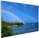 Zeilboot en dubbele regenboog foto Glas 120x80 cm - Foto print op Glas (Plexiglas wanddecoratie)