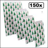 150x Cadeau/Geschenkzakjes kerstboom 10x15cm