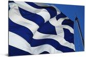 Griekse vlag op Akropolis Aluminium 180x120 cm - Foto print op Aluminium (metaal wanddecoratie) XXL / Groot formaat!