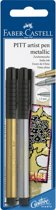 Tekenstift Faber-Castell Pitt Artist Pen blister met goud en zilver