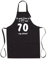 Mijncadeautje - Luxe Keukenschort - Zo goed kun je er uitzien 70 jaar - Unisex - Zwart - Leeftijd