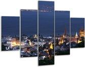 Glasschilderij Steden | Blauw, Geel, Grijs | 100x70cm 5Luik | Foto print op Glas |  F002682