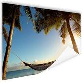 Hangmat tussen palmbomen tropisch strand Poster 120x80 cm - Foto print op Poster (wanddecoratie woonkamer / slaapkamer) / Zee en Strand