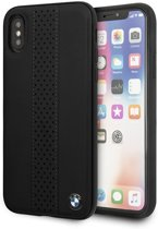 BMW Originele Perforated Center Stripe Back Cover Hoesje voor de Apple iPhone X / XS - Zwart