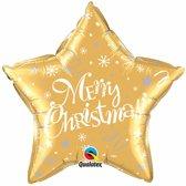 folieballon - merry christmas goudkleurige ster - 51cm leeg