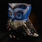 Oliebrander Uil 2# Blauw + Zwart keramiek Aromabrander voor geurolie of wax smelt