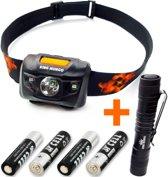 Hoofdlamp LED + mini zaklamp | incl. batterijen | King Mungo KMHL012